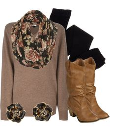 """Black & Brown Floral"" by qtpiekelso on Polyvore"