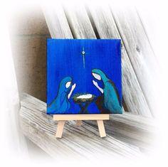 Miniature Nativity Folk Art Painting on Canvas with easel and swarovski crystal  #FolkArt