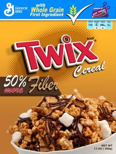 Twix Cereal example by on DeviantArt New Cereal, Cereal Food, Cereal Packaging, Types Of Cereal, Snack Recipes, Dessert Recipes, Desserts, Junk Food Snacks, Breakfast Cereal