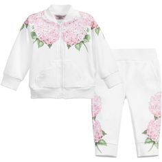 Monnalisa Baby Girls White Floral Tracksuit at Childrensalon.com