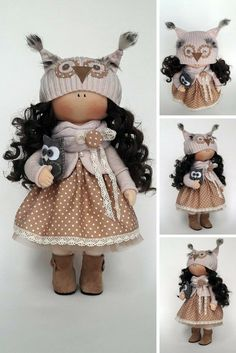 Owl Doll Winter Tilda Doll Handmade Bambole Doll Fabric Doll Brown Soft Doll Cloth Baby Doll Rag Interior Doll Art Textile Doll by Irina E  This is handmade cloth doll created by Master Irina E (Kiev, Ukraine).  All dolls stated on the photo are mady by artist Irina E. Doll is 31 cm (12.2 inch) tall and made of only quality materials. This doll is made TO ORDER.  Such dolls and toys can be great present for your beloved people.
