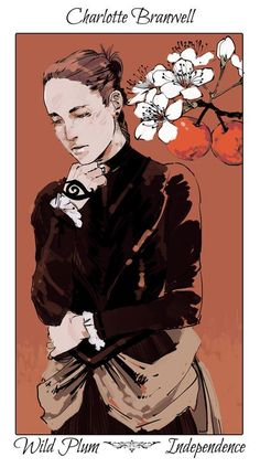 Charlotte with a wild plum tree, The language of flowers (picked by C.Clare, art by C.Jean):