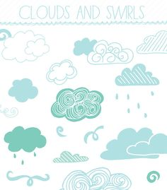 Cloud Clip Art  Hand Drawn Clip Art by AngieMakes on Etsy,