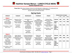 Looking for SCHOOL LUNCH recipes? Find this spring cycle menu and many more from Healthier KANSAS Menus at http://www.kn-eat.org/snp/snp_menus/SNP_Resources_Healthier_Kansas_Menus_8-week_Cycle_2014-15.htm