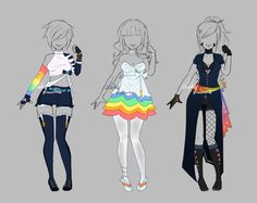 Test base - rainbow set - closed by lotuslumino drawing clothes, dress draw Fashion Design Drawings, Fashion Sketches, Art Sketches, Character Sketches, Drawing Anime Clothes, Dress Drawing, Clothing Sketches, Anime Dress, Anime Outfits