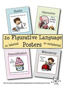 These 8 1/2 x 11 figurative language posters will help students learn metaphor, simile, hyperbole, personification, allusion, metonymy, onomatopoei...