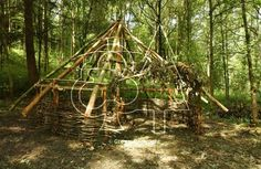 Celtic Roundhouse constructed by Forest School students in UK