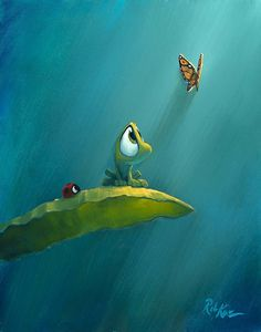 A self-trained artist, Rob Kaz is known for his lush artwork, emphasis on light, and visual storytelling inspired by his background in animation. Cute Monsters Drawings, Cute Animal Drawings, Cartoon Drawings, Cute Drawings, Angry Birds Desenho, Monster Drawing, Art Friend, Cute Frogs, Whimsical Art
