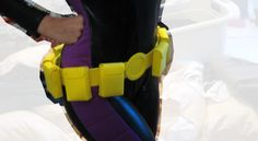 Batgirl WIP no. 4! I love my utility belt. <3(It's made from yellow crafting foam, letter clips, hook and eyes, thread and glue.) F...