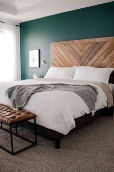 Home Bedroom Accent wall Bedding Design Headboard Furniture Bed frame Green Bedding, Bedroom Green, Bedroom Colors, Emerald Bedroom, Green Bedrooms, Bedroom Neutral, White Bedding, Rustic Master Bedroom, Cozy Bedroom