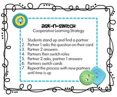 Using an index card students create their own review question.  Their cards become the card set needed for the review game, Ask-n-Switch.