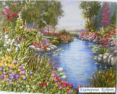 Gallery.ru / подарочек папуле - мои работы - kubbrak Embroidery Transfers, Hand Embroidery Stitches, Silk Ribbon Embroidery, Embroidery Art, Cross Stitch Embroidery, Ribbon Art, Ribbon Crafts, Cross Stitch Landscape, Thread Painting