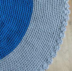 Tapete de crochê | azul e cinza