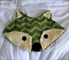 Green Chevron Fox Face Baby Crinkle Toy by dwelldarling on Etsy, $17.00