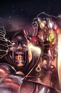 Doctor Doom and the Infinity Gauntlet. Hq Marvel, Marvel Comics Art, Marvel Heroes, Comic Book Heroes, Comic Books Art, Comic Art, Marvel Villains, Marvel Characters, Marvel Universe