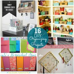 Great Ideas!! 16 DIY Organizing Projects to inspire YOU! -- Tatertots and Jello