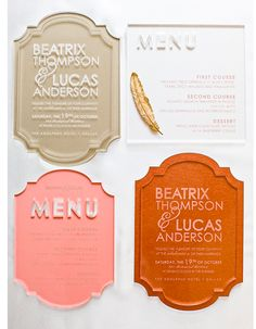 Invites acrylic clear with white writing on either copper or tan backdrop
