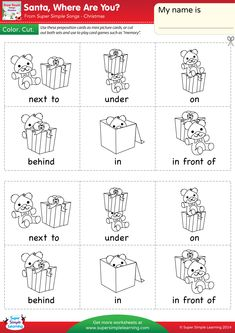 "Print these prepositions of place vocabulary cards on sturdy paper. Have students color and cut them. They can then use them as mini picture cards or to play simple card games such as ""memory. English Grammar For Kids, Learning English For Kids, English Worksheets For Kids, English Lessons For Kids, Kids English, Teaching English, Learn English, Preposition Pictures, Preposition Activities"
