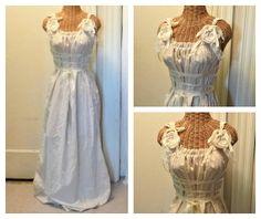 Gypsy Rose Maxi Dress Ren Faire Corset Ribbon Bridal Wedding Boho, Womens Custom Full-Length Tattered Cotton