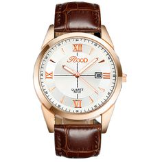 ROOD Brand Watch 5 Color Rose Gold Simple Plate Leather Strap Quartz-watch Waterproof wrist watches for men gold R6122