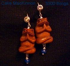 Sterling Silver Gemstone & Zen Buddha Frog Earrings. $45.00, via Etsy.