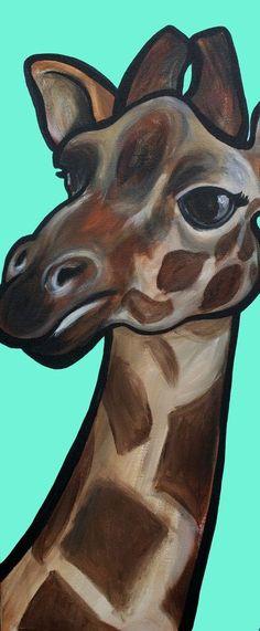 Giraffe art print by pawblo picasso. kathryn koptke · easy animals to paint Giraffe Drawing, Giraffe Painting, Giraffe Art, Painting & Drawing, Watercolor Paintings, Diy Painting, Easy Watercolor, Whimsical Art, Acrylic Art
