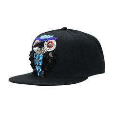 Western Woman Baseball Cap Sequins Beading Owl Punk Hat