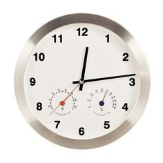 Modern Multiplex Non-Ticking Silent Wall Clock with Built-in Thermometer [Fahrenheit] /Hygrometer (White) $34.71