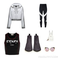 Look Mix & Match With Puma Hoodie Nike Leggings Fendi Sports Bra And Suede Shoes From October 2016 #outfit #look