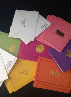 Gold Foil Brights Notecards by believeinmeg on Etsy, $5.00