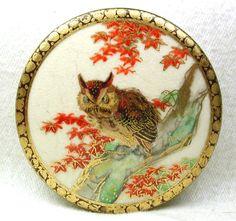 Antique Satsuma Button Meiji Period Owl on Tree Branch Lg Sz 2 inch Fancy Border