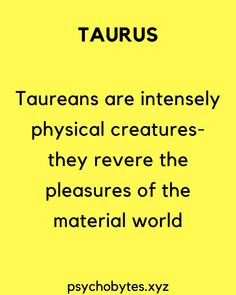 Psychological facts about Taurus