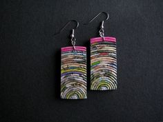 Newspaper dangle earrings * blureco