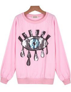 Pink Long Sleeve Sequined Eye Pattern Sweatshirt