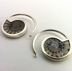 Silver-Plated Brass with Ammonite by Quetzalli Jewelry THESE ARE SO COOL!!!