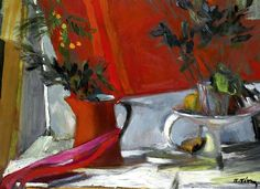 "lilithsplace: ""Still life in red - Panayiotis Tetsis "" Greece Painting, Greek Art, Paintings I Love, Painting & Drawing, Still Life, Photo Art, Contemporary Art, Illustration Art, Illustrations"