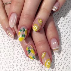 lemon pink & yellow nail art