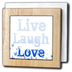 3dRose Live, Laugh, Love Blue Butterflies- Inspirational Words, Tile Napkin Holder, 6-inch