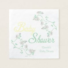 Shop Baby Pink Floral Baby Shower Napkins created by MetroEvents.