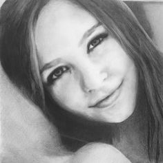 Realistic drawing of a girl. Black and white