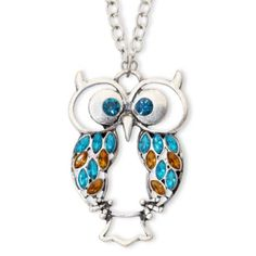 """Decree Owl Necklace (096452055606) At a longer length and with punches of vibrant color, this feathered friend necklace is wide-eyed and ready to take on the day with you. Metal: Silver-tone metal Stones: Synthetic blue zircon and smoky topaz Closure: Lobster clasp Length: 24"""" link chain with 3"""" extender Jewelry photos are enlarged to show detail."""