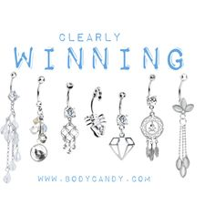 """""""Clearly Winning : New Summer Belly Rings #bodycandy"""" by bodycandy on Polyvore #bellyring #piercing"""