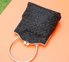 Vintage Black Beaded Evening Bag Seed Bead by jeanninehandmade