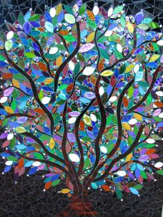 Moonstone tree Featuring dichroic moonstone fused in a kiln, Anisa Sharif