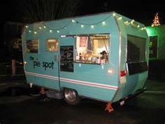 campers - A retro pie van another supberb retro/comfort wedding food idea.