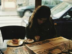 breakfast and reading in coffee shops