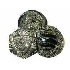 Antique Buttons Black Glass Silver Luster 4 Way Embedded by xurple, $22.00