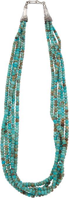 "Unknown Santo Domingo artist, Turquoise necklace, c. 1980, 13½"" long"