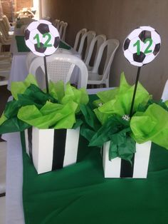 Soccer Birthday Parties, Sports Birthday, Soccer Party, Sports Party, Soccer Centerpieces, Party Centerpieces, Soccer Baby Showers, Soccer Banquet, Dinner Party Table