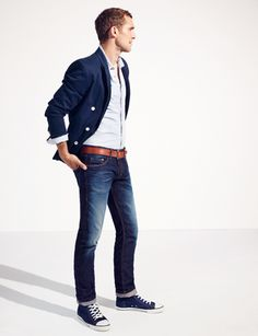 Love this casual business look. Folded up pant legs are also becoming popular for fall. Model: Will Chalker, Fashion by MAC Men 2013.